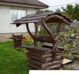 Колодец из дерева для сада (0092)