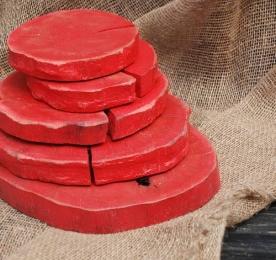Набор красных деревянных спилов, 5 штук