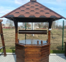 Wooden Well  With Metal Handle
